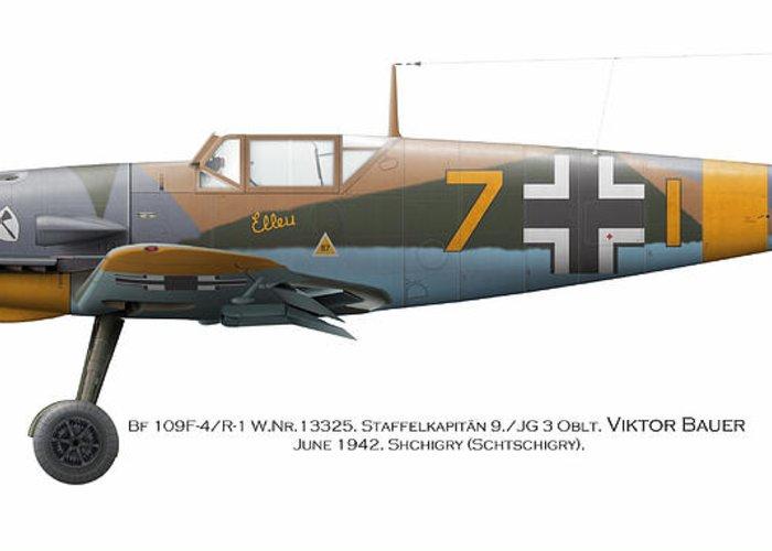 Luftwaffe Greeting Card featuring the digital art Bf 109f-4/r-1 W.nr.13325. Staffelkapitan 9./jg 3 Oblt. Viktor Bauer. June 1942. Shchigry by Vladimir Kamsky