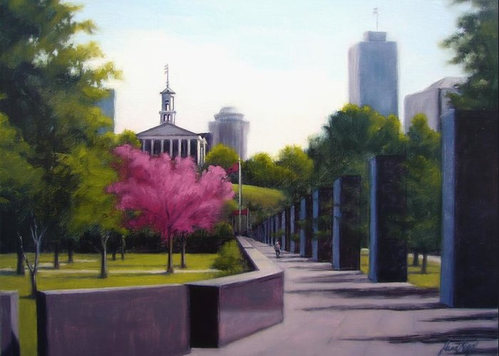 Capital Building In Nashville Tennessee Greeting Card featuring the painting Bicentennial Capital Mall Park by Janet King