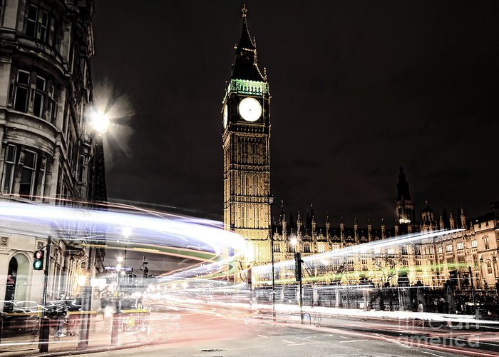 Big Ben Greeting Card featuring the photograph Big Ben With Light Trails by Jasna Buncic