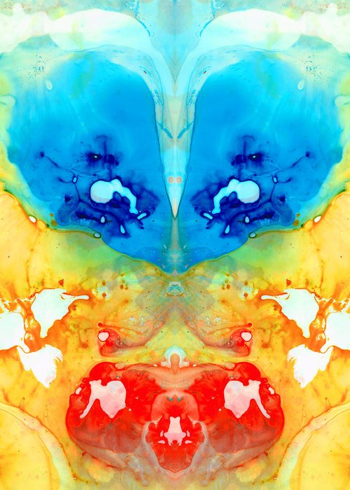 Rorschach Greeting Card featuring the painting Big Blue Love - Visionary Art By Sharon Cummings by Sharon Cummings