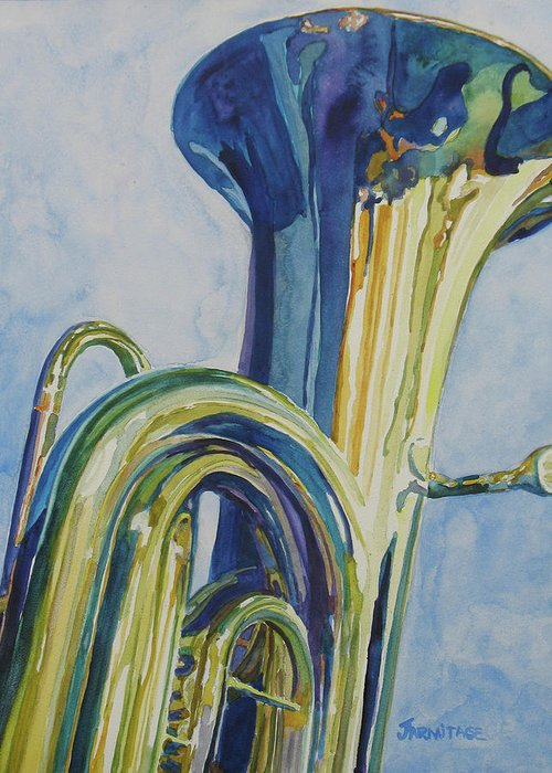 Tuba Greeting Card featuring the painting Big Boy by Jenny Armitage
