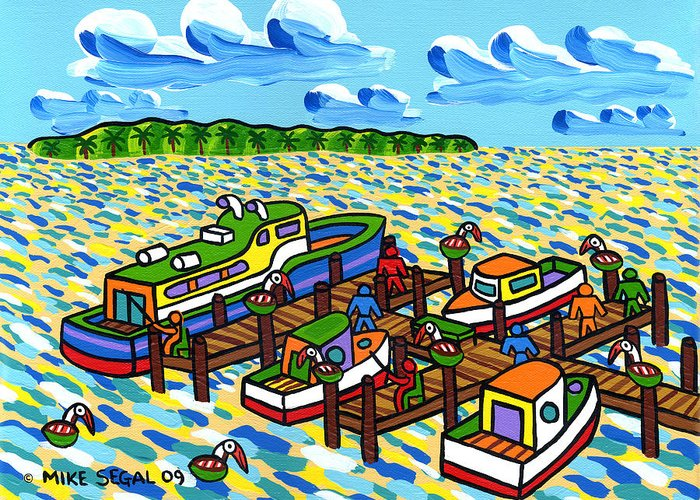 Boat Greeting Card featuring the painting Big Dock - Cedar Key by Mike Segal