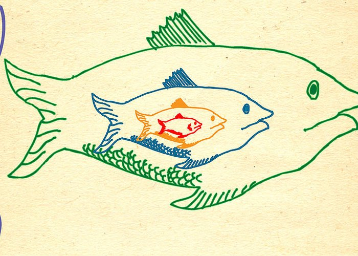 big Fish Eat Little Fish Greeting Card featuring the drawing Big Fish Eat Little Fish by
