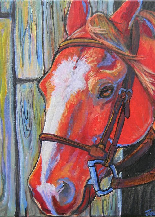 Horse Greeting Card featuring the painting Big Red by Jenn Cunningham