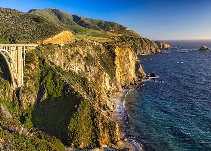 California Highway One Greeting Card featuring the photograph Big Sur Bridge by George Oze