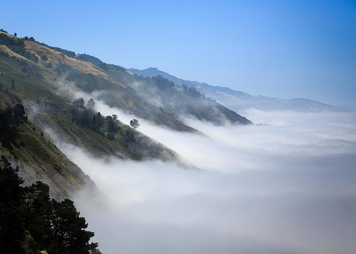 Us Greeting Card featuring the photograph Big Sur Fog by Mathew Lodge