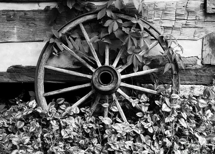 Big Wheel Bw Greeting Card featuring the photograph Big Wheel Bw by Mel Steinhauer