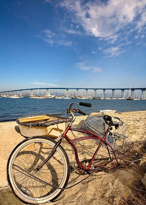 Beach Greeting Card featuring the photograph Bike And A Brdige by Peter Tellone