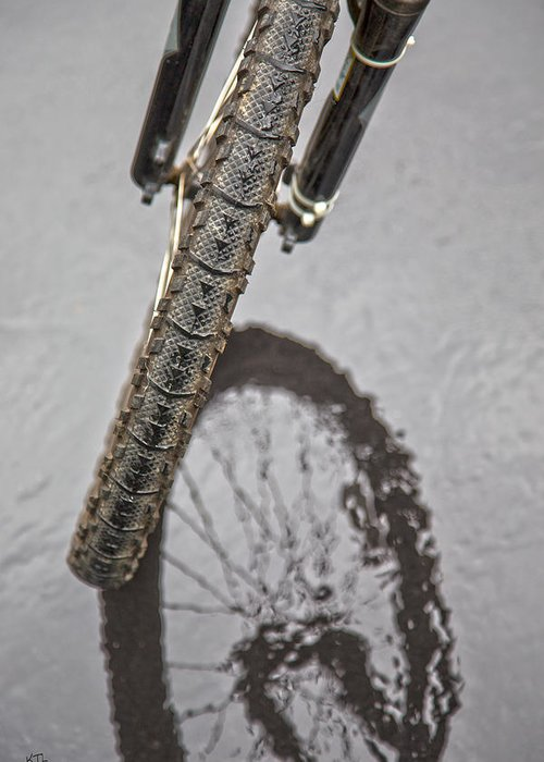 Bike Greeting Card featuring the photograph Biking In The Rain by Karol Livote