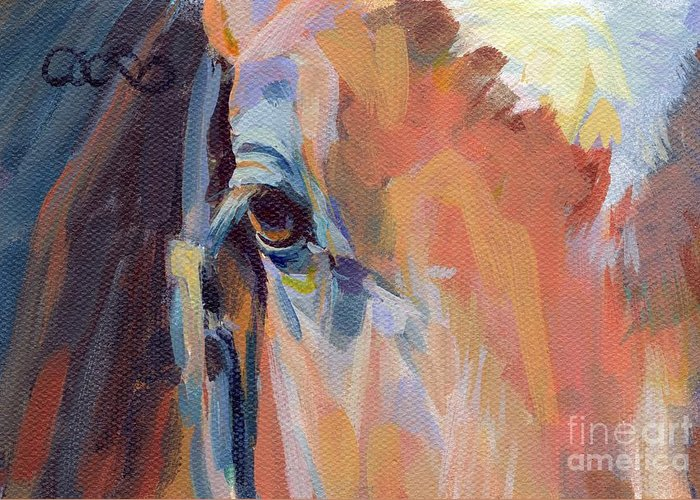 Thoroughbred Greeting Card featuring the painting Billy by Kimberly Santini