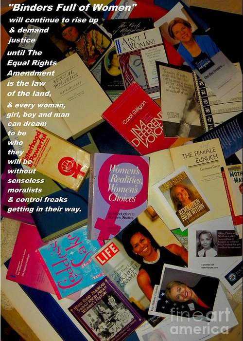 Binders Full Of Women Greeting Card featuring the photograph Binders Full Of Women by Perry Conley