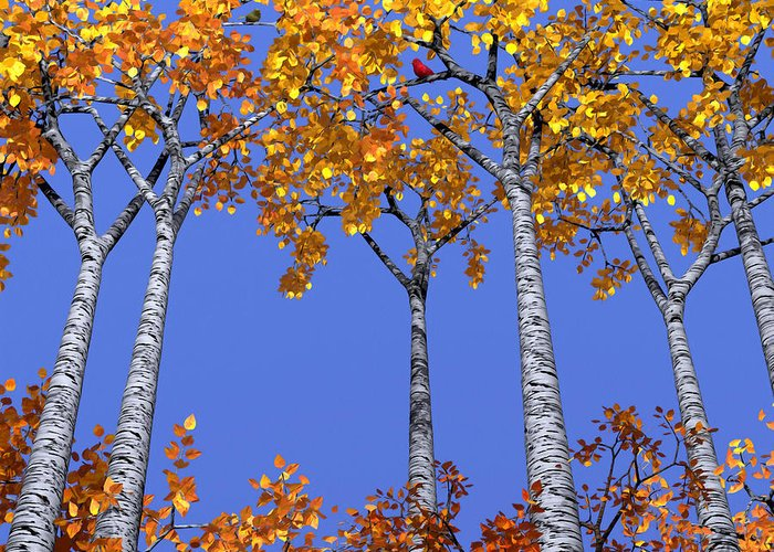 Aspen Greeting Card featuring the digital art Birch Grove by Cynthia Decker