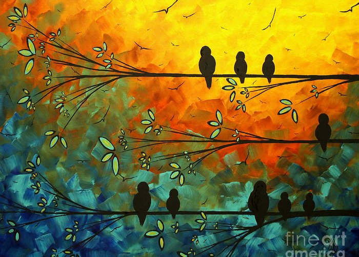 Painting Greeting Card featuring the painting Birds Of A Feather Original Whimsical Painting by Megan Duncanson