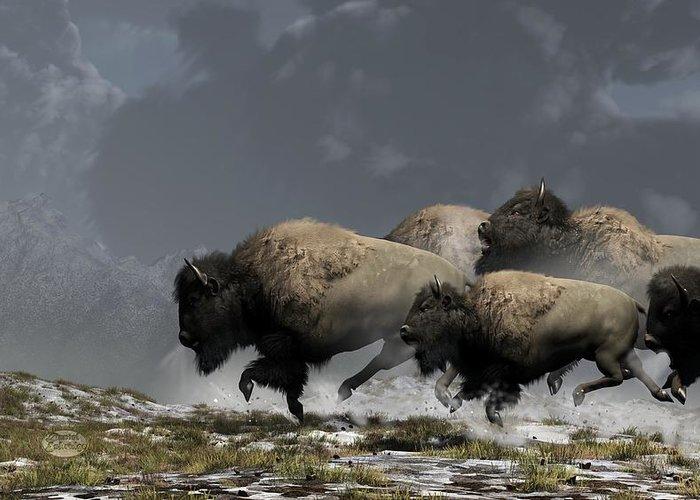 Bison Greeting Card featuring the digital art Bison Stampede by Daniel Eskridge