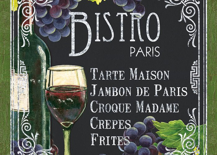 Bistro Greeting Card featuring the painting Bistro Paris by Debbie DeWitt