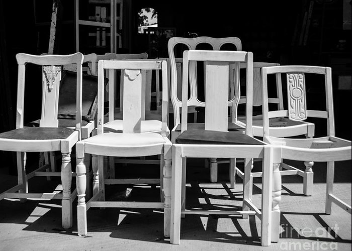 Chairs Greeting Card featuring the photograph Black And White Chairs by Sonja Quintero