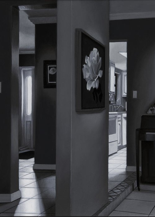 Interior Greeting Card featuring the painting Black And White Foyer by Tony Chimento