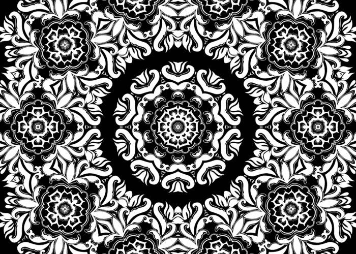 Intricate Greeting Card featuring the mixed media Black And White Medallion 10 by Angelina Vick