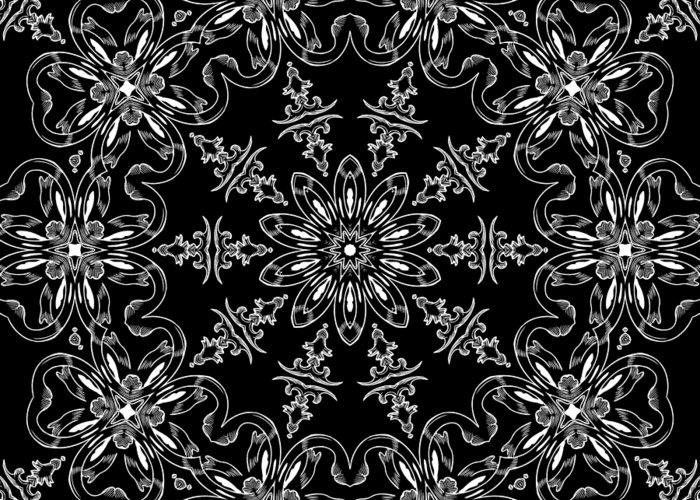 Intricate Greeting Card featuring the mixed media Black And White Medallion 11 by Angelina Vick
