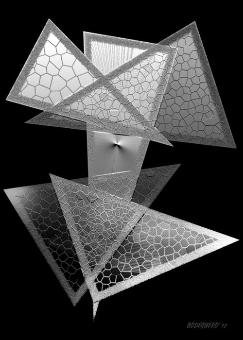 Triangle Art Greeting Card featuring the digital art Black And White Triangles by Mario Perez
