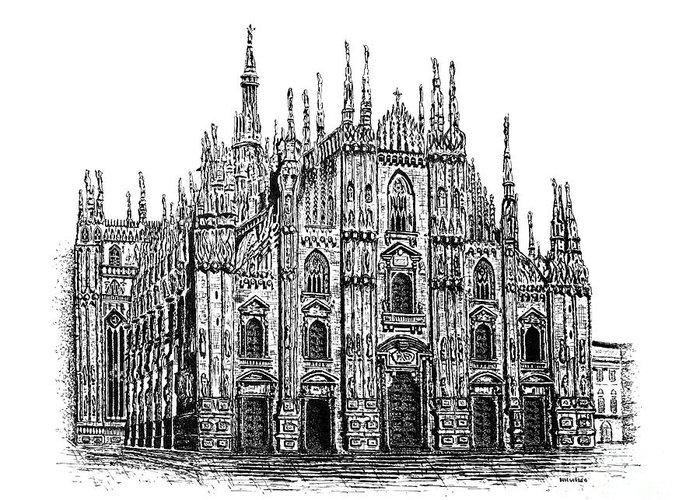 Drawing Greeting Card featuring the drawing Black And White With Pen And Ink Drawing Of Milan Cathedral by Mario Perez