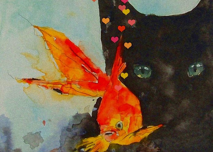 Black Cat Greeting Card featuring the painting Black Cat And The Goldfish by Paul Lovering
