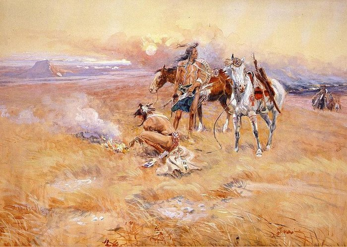 Charles Russell Greeting Card featuring the digital art Black Feet Burning The Buffalo Range by Charles Russell