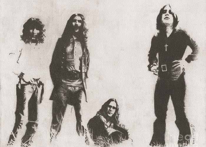 Metal Gods Black Sabbath Ozzy Tony Geezer And Bill Greeting Card featuring the drawing Black Sabbath by Jeff Ridlen