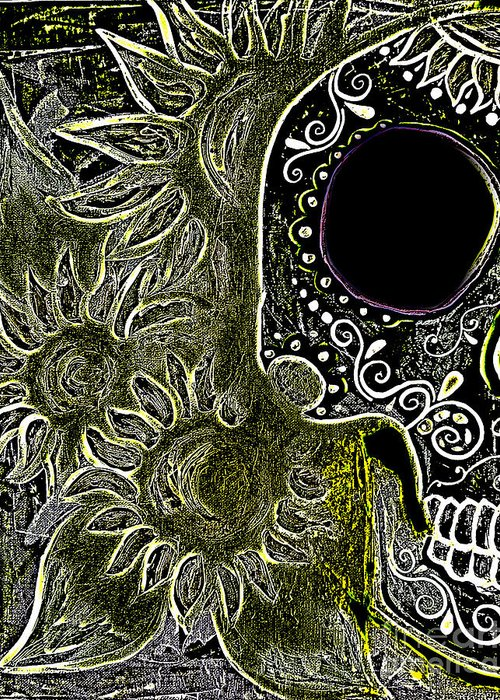 This Series Was Done For The  Dia De Los Muertos Marigold Festival In 2013 In Sedona Greeting Card featuring the painting Black Sunflower Skull by Lovejoy Creations
