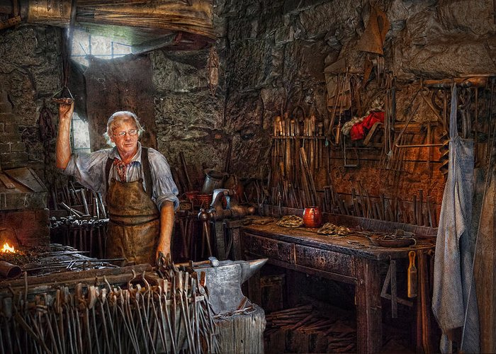 Blacksmith Greeting Card featuring the photograph Blacksmith - Working The Forge by Mike Savad