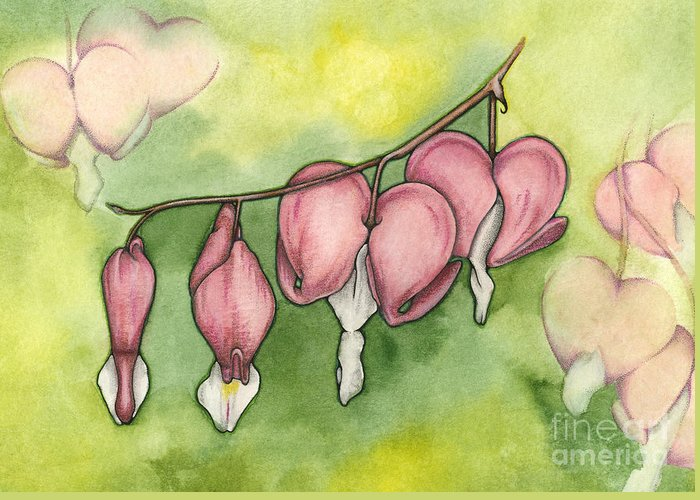Bleeding Greeting Card featuring the painting Bleeding Hearts by Nora Blansett