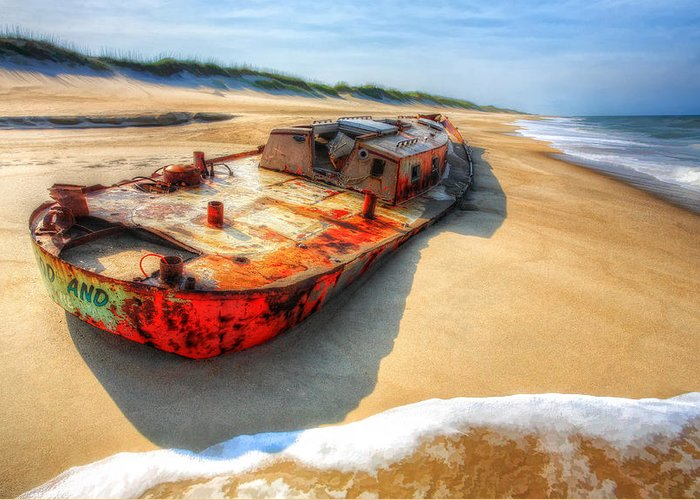 North Carolina Greeting Card featuring the painting Blood And Guts II - Outer Banks by Dan Carmichael