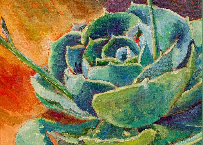 Succulent Greeting Card featuring the painting Blooming Hen by Athena Mantle