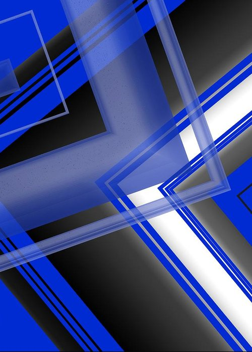 Blue Greeting Card featuring the digital art Blue And White Geometric Art by Mario Perez