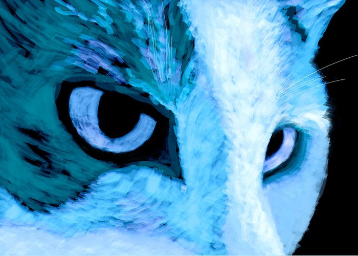 Cat Greeting Card featuring the digital art Blue Cat Face by Ann Powell