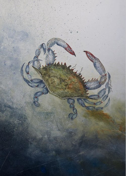 Crab Greeting Card featuring the mixed media Blue Crab Print by Nancy Gorr