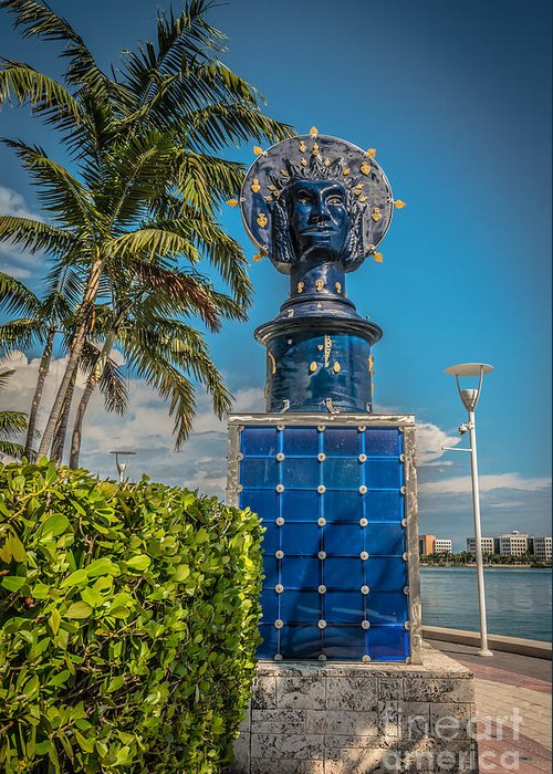 America Greeting Card featuring the photograph Blue Crown Statue Miami Downtown by Ian Monk