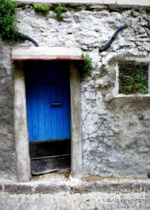 Doors And Windows Greeting Card featuring the photograph Blue Door On Rustic House by Lainie Wrightson