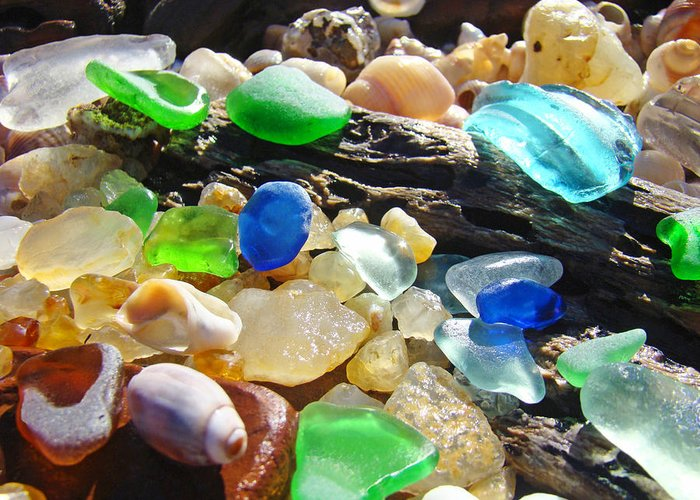 Seaglass Greeting Card featuring the photograph Blue Green Seaglass Art Prinst Agates Shells by Baslee Troutman