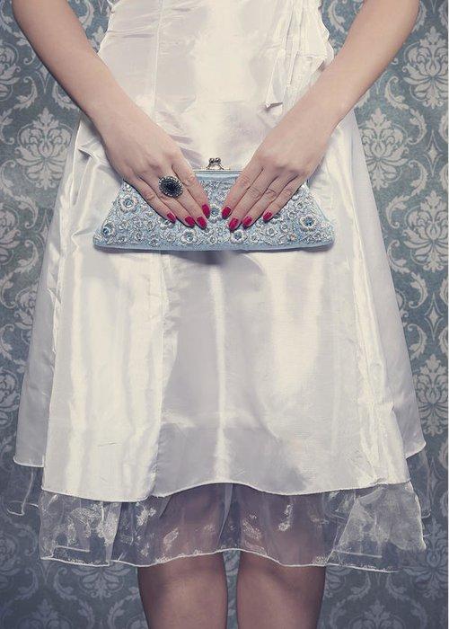 Woman Greeting Card featuring the photograph Blue Handbag by Joana Kruse