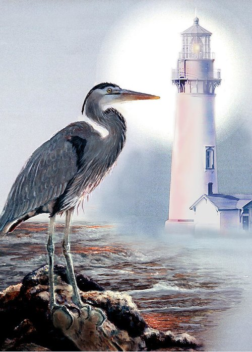 Architecture Greeting Card featuring the painting Blue Heron In The Circle Of Light by Gina Femrite
