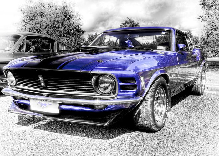 Blue Ford Mustang Greeting Card featuring the photograph Blue Mach 1 by motography aka Phil Clark