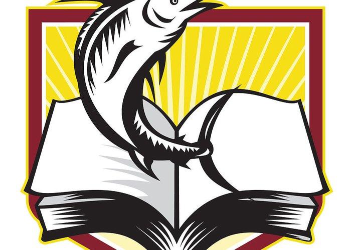 Blue Marlin Greeting Card featuring the digital art Blue Marlin Fish Jumping Book Retro by Aloysius Patrimonio