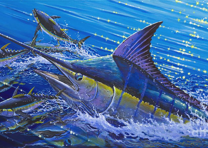 Fishing Greeting Card featuring the painting Blue Persuader by Carey Chen