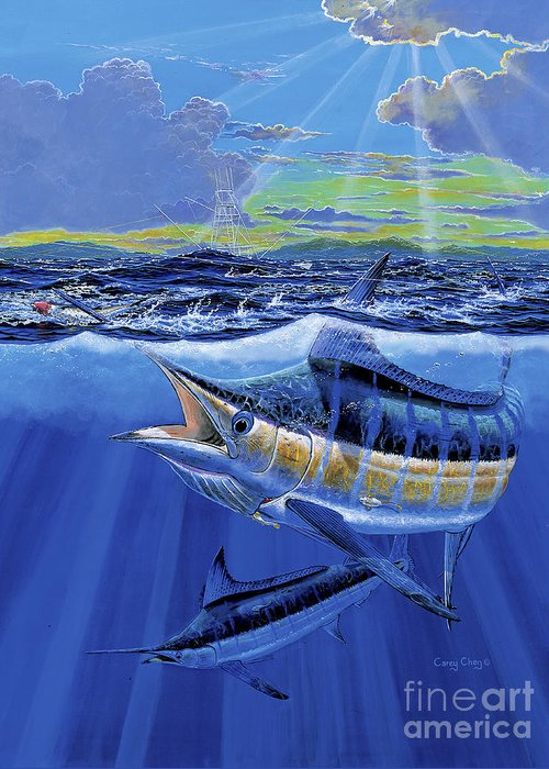 Blue Marlin Greeting Card featuring the painting Blue Pitcher Off00115 by Carey Chen