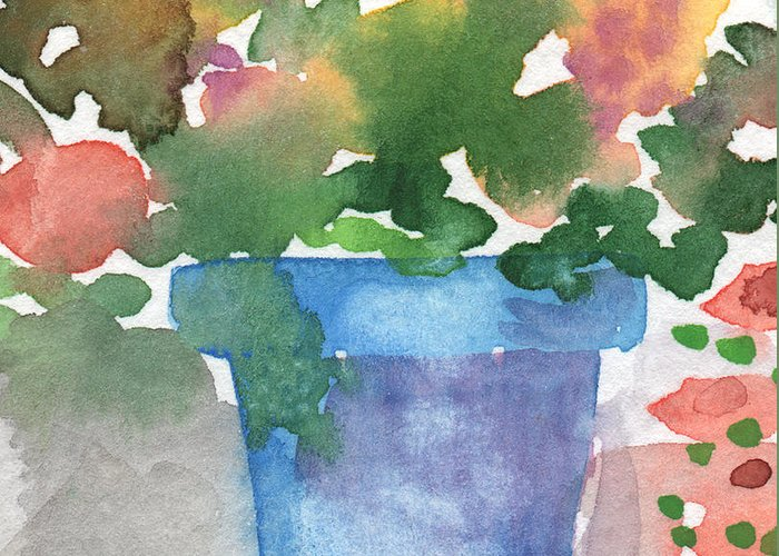 Watercolor Greeting Card featuring the painting Blue Pot Of Flowers by Linda Woods