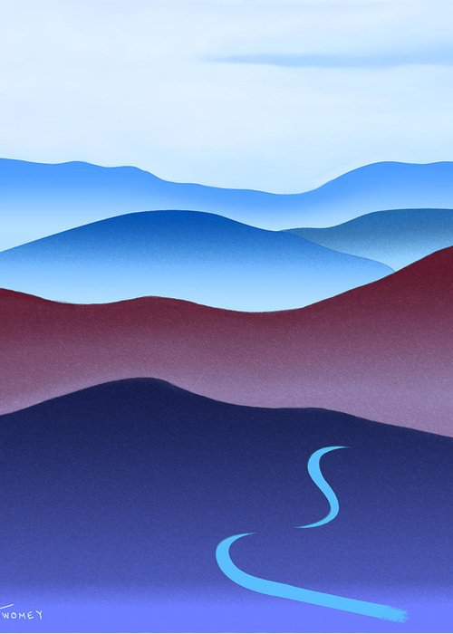 Crane Greeting Card featuring the painting Blue Ridge Blue Road by Catherine Twomey