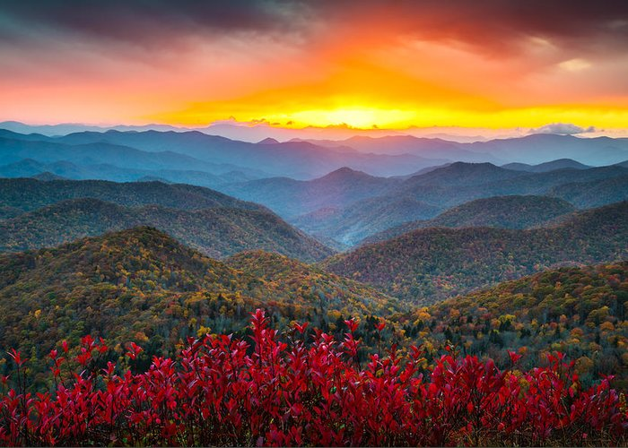 Blue Ridge Parkway Greeting Card featuring the photograph Blue Ridge Parkway Autumn Sunset Nc - Rapture by Dave Allen