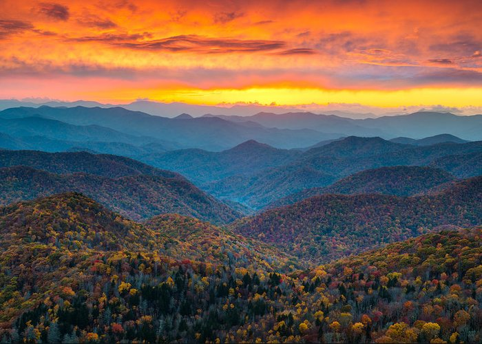 Blue Ridge Parkway Greeting Card featuring the photograph Blue Ridge Parkway Fall Sunset Landscape - Autumn Glory by Dave Allen