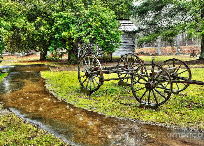 Blue Ridge Parkway Greeting Card featuring the photograph Blue Ridge Parkway Vintage Wagon In The Rain I by Dan Carmichael